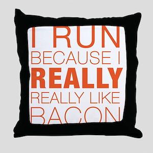 Run For Bacon Throw Pillow