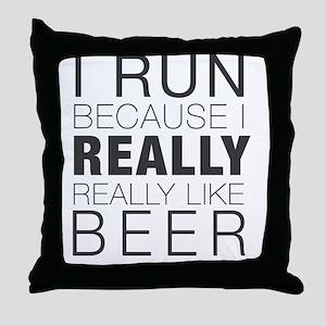 Run for Beer. Throw Pillow