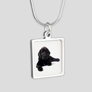 Labrador Retriever Silver Square Necklace