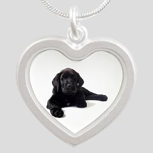 Labrador Retriever Silver Heart Necklace