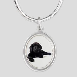 Labrador Retriever Silver Oval Necklace