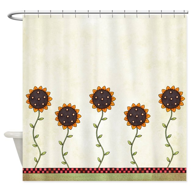 Primitive Sunflowers Shower Curtain By Oandco