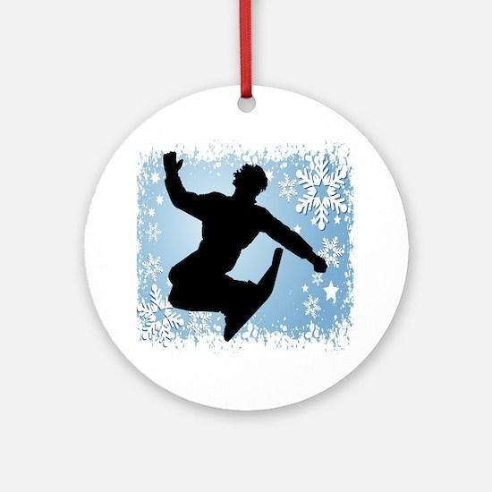 Snowboarding (Blue) Ornament (Round)
