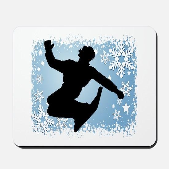 Snowboarding (Blue) Mousepad