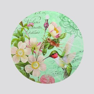 Modern vintage french hummingbird Ornament (Round)