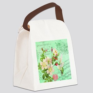 Modern vintage french hummingbird Canvas Lunch Bag