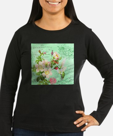 Modern vintage french hummingbird Long Sleeve T-Sh
