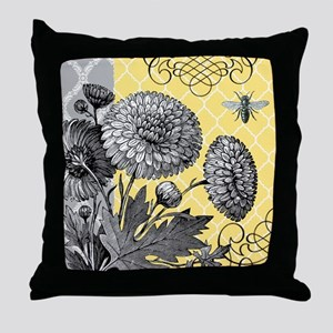 Modern vintage floral collage Throw Pillow