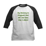 Mommy Pregnant green Kids Baseball Jersey