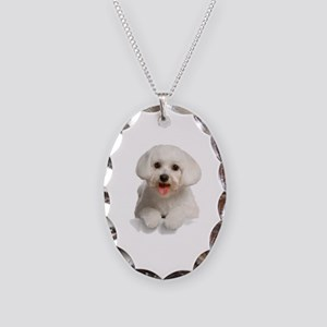 Bichon Frise Necklace Oval Charm