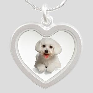 Bichon Frise Silver Heart Necklace