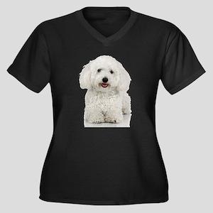 Bichon Frise Women's Plus Size V-Neck Dark T-Shirt