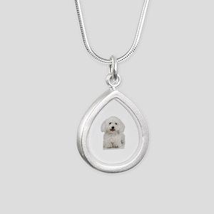 Bichon Frise Silver Teardrop Necklace