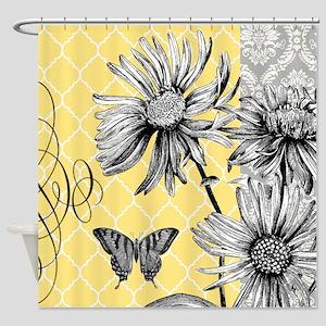 Modern vintage floral collage Shower Curtain
