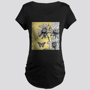 Modern vintage floral collage Maternity T-Shirt