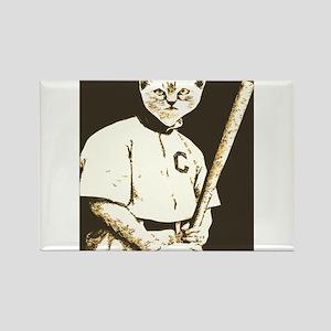Baseball Cat Rectangle Magnet