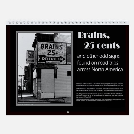Brains 25 cents wall calendar