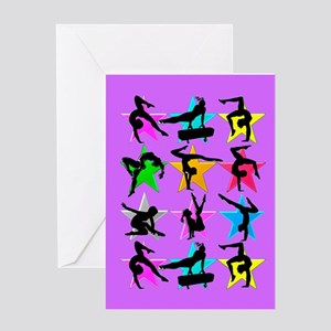 PURPLE GYMNAST Greeting Card