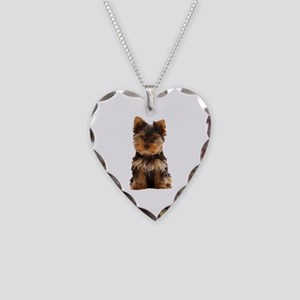 Yorkie Necklace Heart Charm