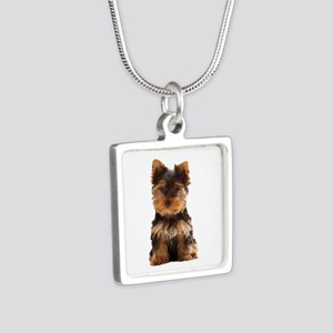 Yorkie Silver Square Necklace