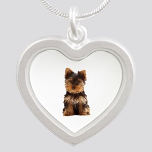 Yorkie Silver Heart Necklace