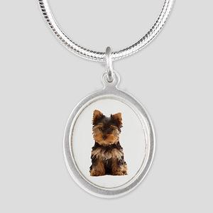 Yorkie Silver Oval Necklace