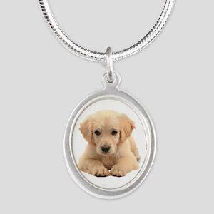 Golden Retriever Silver Oval Necklace