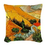 House and Ploughman Woven Throw Pillow