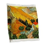 House and Ploughman Burlap Throw Pillow