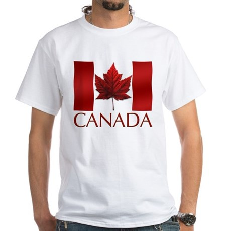 Canada Flag T-Shirt Souvenir Leaf Art White Tshirt