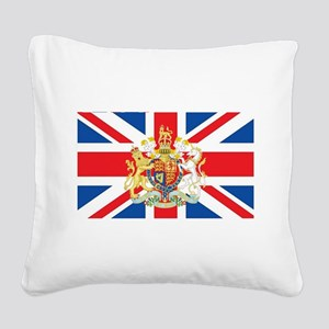British Flag with Royal Crest Square Canvas Pillow