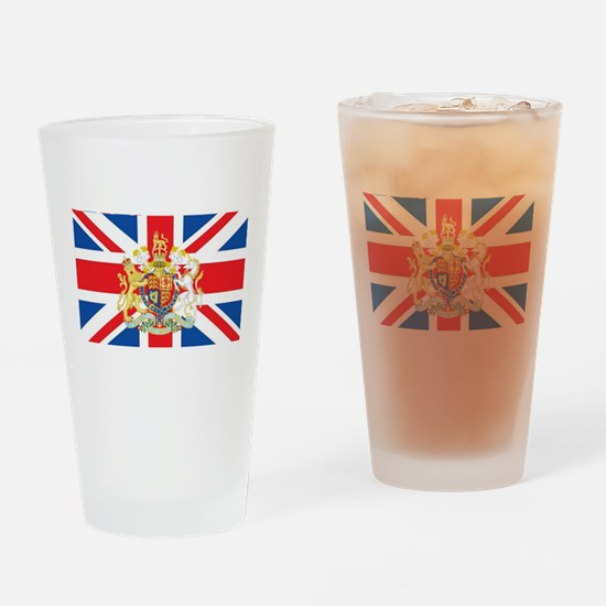 British Flag with Royal Crest Drinking Glass