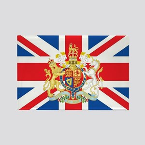 British Flag with Royal Crest Rectangle Magnet