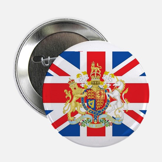 "British Flag with Royal Crest 2.25"" Button"