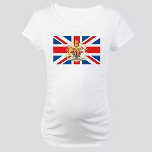British Flag with Royal Crest Maternity T-Shirt