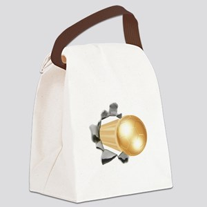 Gold Soccer Ball Canvas Lunch Bag