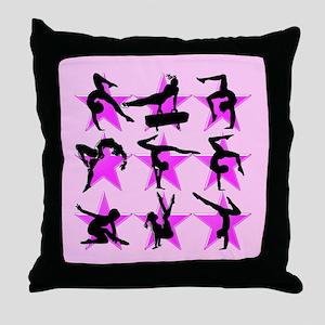 PRETTY PINK GYMNAST Throw Pillow