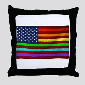 Gay Rights Rainbow Patriotic Flag Throw Pillow