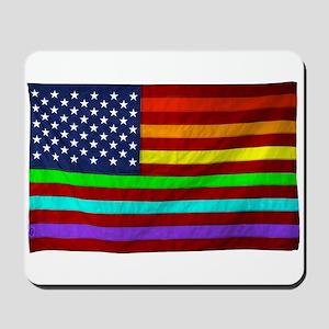 Gay Rights Rainbow Patriotic Flag Mousepad