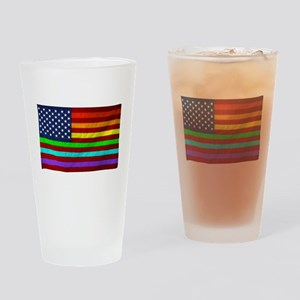 Gay Rights Rainbow Patriotic Flag Drinking Glass