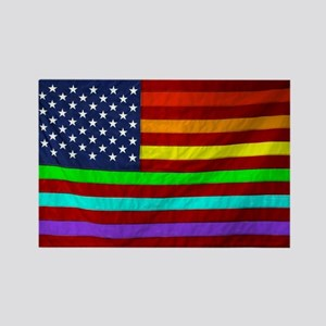 Gay Rights Rainbow Patriotic Flag Rectangle Magnet