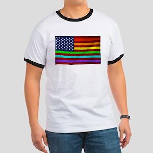 Gay Rights Rainbow Patriotic Flag T-Shirt