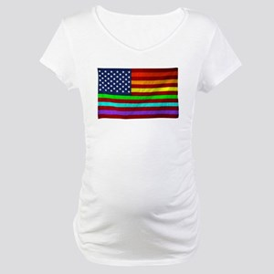 Gay Rights Rainbow Patriotic Flag Maternity T-Shir