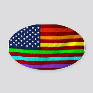(LGBT) Gay Rainbow Pride Flag - Oval Car Magnet