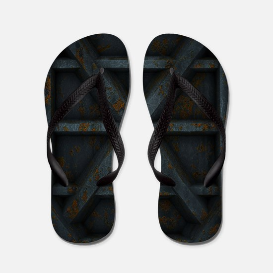 Rusty Shipping Container - black Flip Flops