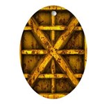 Rusty Shipping Container - yellow Ornament (Oval)