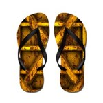 Rusty Shipping Container - yellow Flip Flops