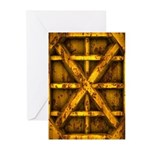 Rusty Shipping Container - yellow Greeting Cards (