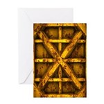 Rusty Shipping Container - yellow Greeting Card