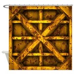 Rusty Shipping Container - yellow Shower Curtain